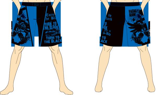 メンズ ファイトショーツ ダークレイヴン ブラック×ブルー