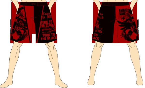 メンズ ファイトショーツ ダークレイヴン ブラック×ダークレッド
