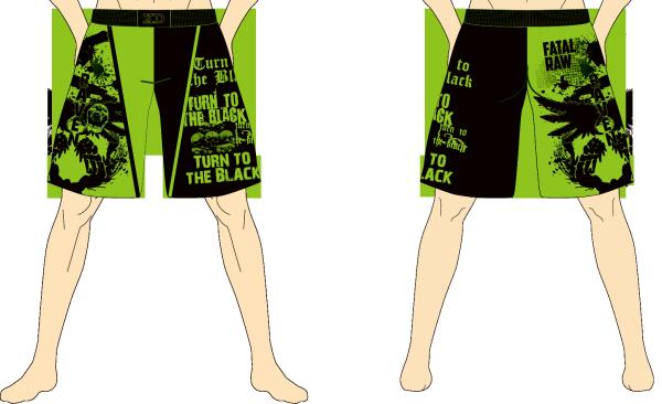 メンズ ファイトショーツ ダークレイヴン ブラック×グリーン