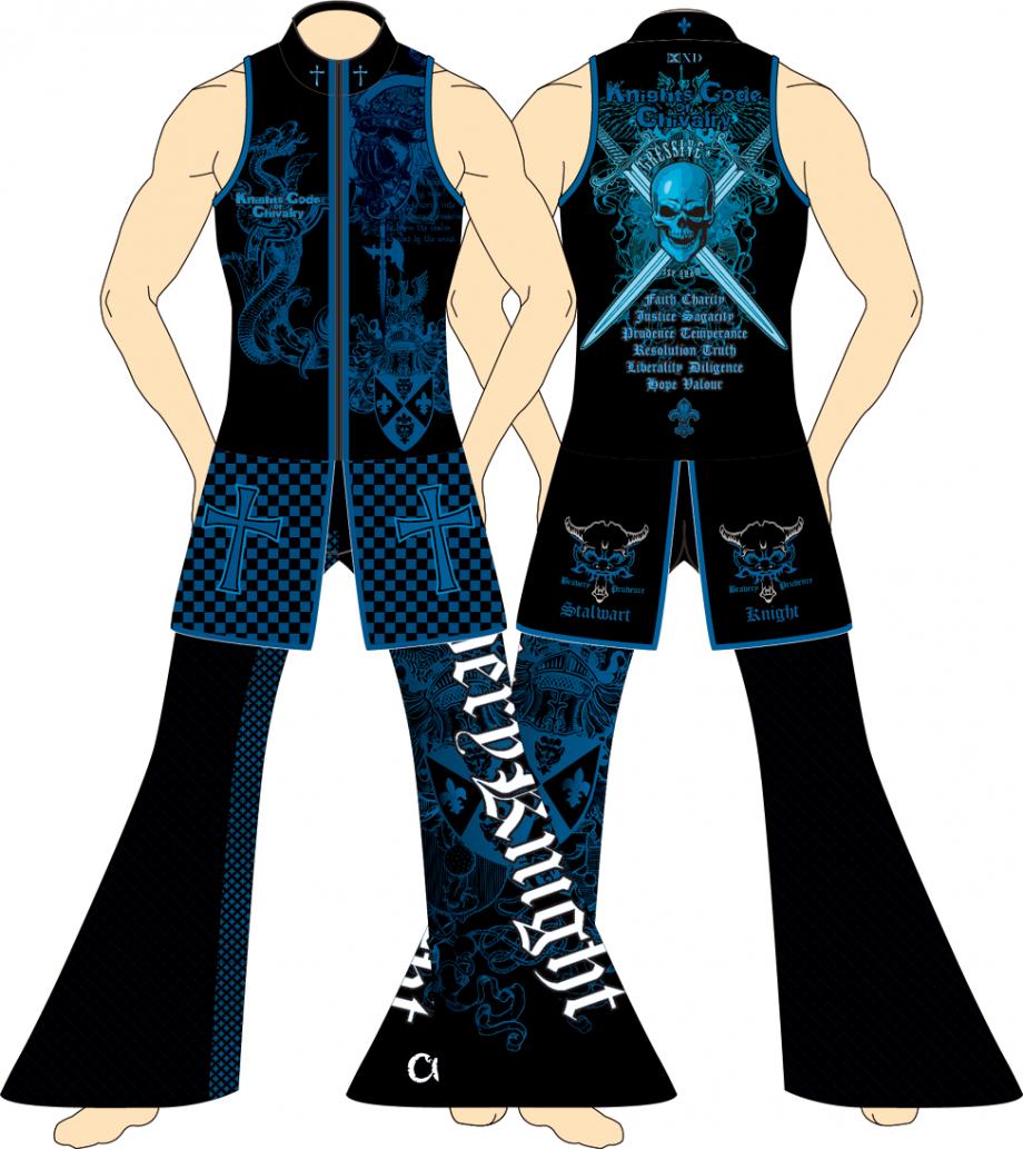 メンズ ロングパンツ ザ・ナイツ ブラック×ブルー
