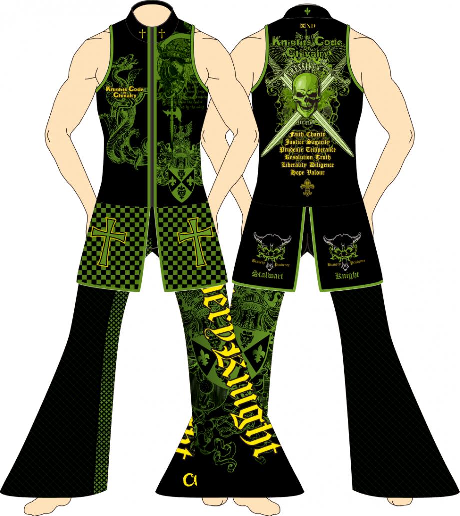 メンズ ロングパンツ ザ・ナイツ ブラック×グリーン