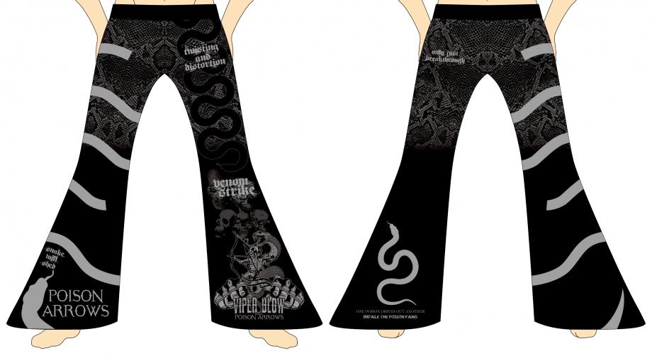 メンズ ロングパンツ ポイズンアローズ スパイラル ブラック×グレー
