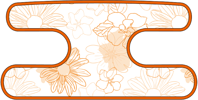ハンドラップ Irregularity Flowers オレンジ