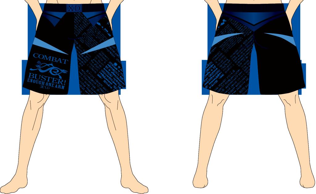 メンズ ファイトショーツ イナーフ・ワンアーム ブラック×ブルー