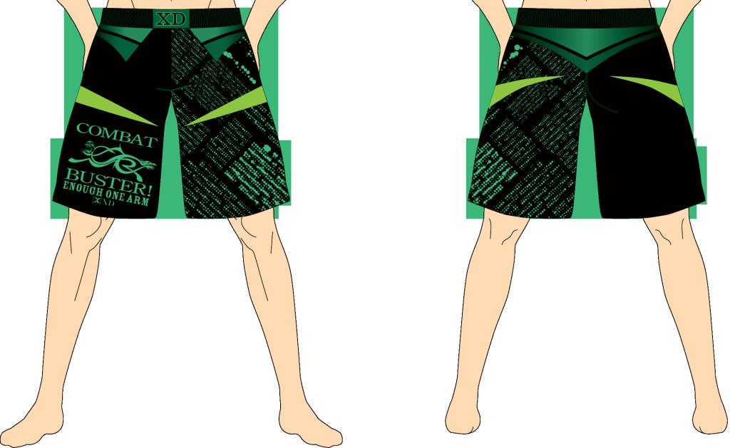 メンズ ファイトショーツ イナーフ・ワンアーム ブラック×グリーン