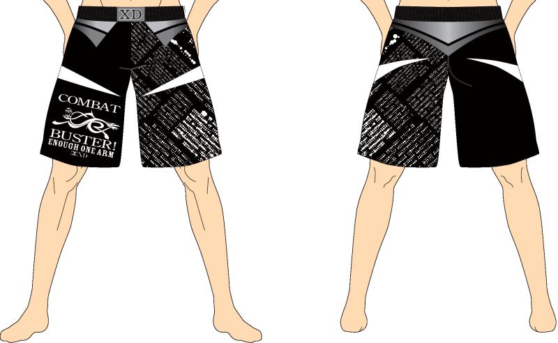 メンズ ファイトショーツ イナーフ・ワンアーム ブラック×ホワイト