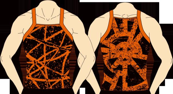 メンズ スクエアタンクトップ クロスホイール ブラック×オレンジ