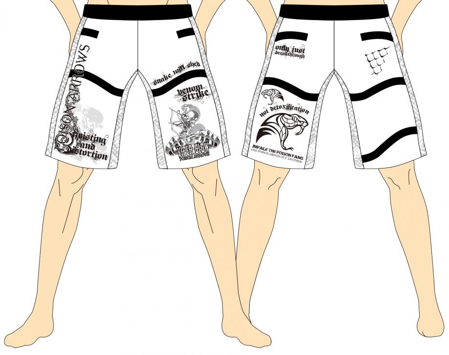 メンズ ファイトショーツ ポイズンアローズ サイドワインダー ホワイト×ブラック