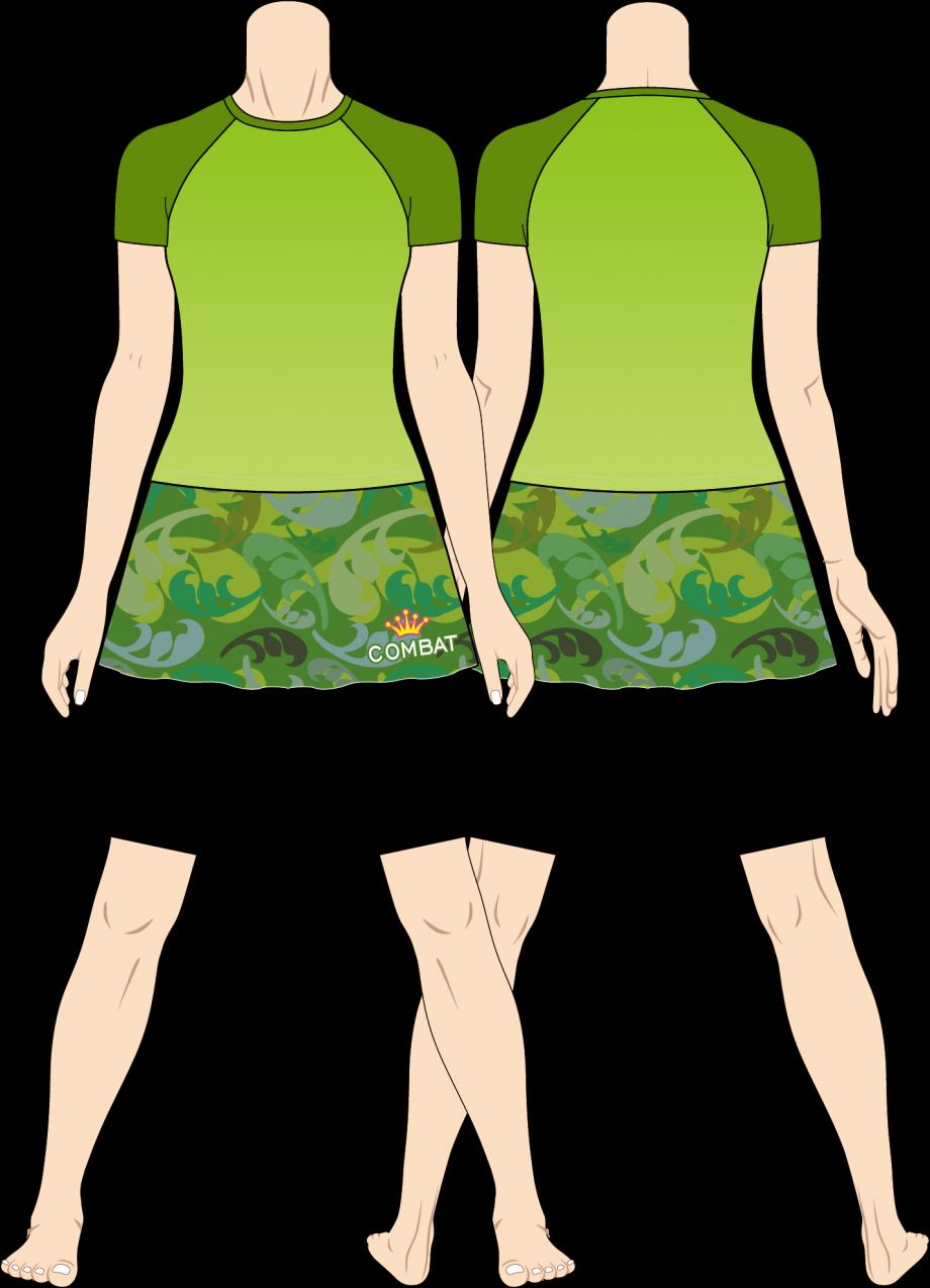 レディス ファイトスカート フローラルカモフラ グリーン