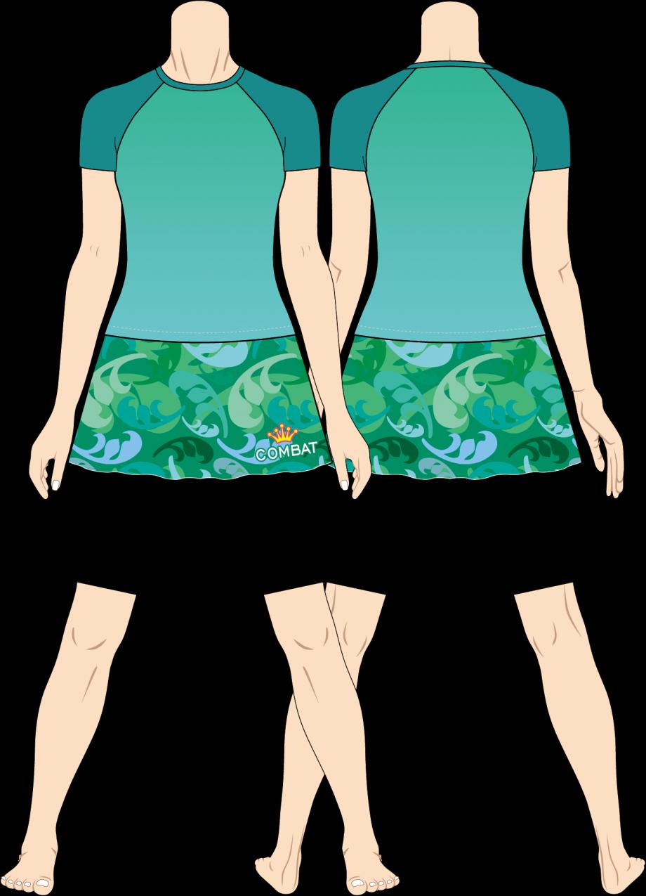 レディス ファイトスカート フローラルカモフラ ターコイズ